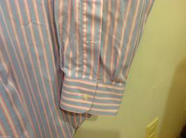 Lands End Light Blue Pink White Striped Dress Shirt, Size 16/34 image 4