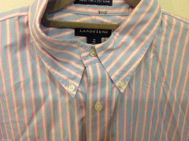 Lands End Light Blue Pink White Striped Dress Shirt, Size 16/34 image 2