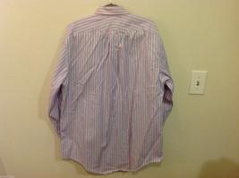 Lands End Light Blue Pink White Striped Dress Shirt, Size 16/34 image 6