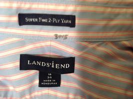 Lands End Light Blue Pink White Striped Dress Shirt, Size 16/34 image 7