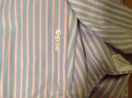 Lands End Light Blue Pink White Striped Dress Shirt, Size 16/34 image 8