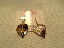 Large 14K Gold Plated Leaf Earrings With Sterling Silver Base 1 Micron Handmade image 3