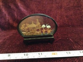 Miniature Japanese Cork Diorama Two Cranes Two Trees and Japanese Hut image 4