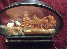 Miniature Japanese Cork Diorama Two Cranes Two Trees and Japanese Hut image 3