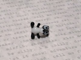 Miniature small hand blown glass black white comical panda bear made USA NIB image 5