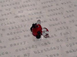 Miniature small hand blown glass cute funny red bug clear wings made USA NIB image 2