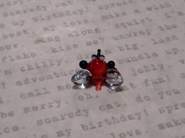 Miniature small hand blown glass cute funny red bug clear wings made USA NIB image 3