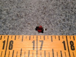 Miniature small hand blown glass cute funny red bug clear wings made USA NIB image 5