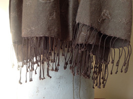 Large Brown Paisley Patterned Scarf with Tassels Very Wide Very Soft Material image 4
