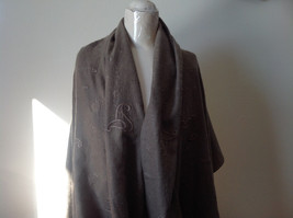 Large Brown Paisley Patterned Scarf with Tassels Very Wide Very Soft Material image 5