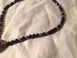 Large Black Onyx Pendant Set in  Sterling Silver Necklace Metal Black onyx Beads image 3