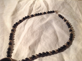 Large Black Onyx Pendant Set in  Sterling Silver Necklace Metal Black onyx Beads image 4
