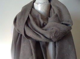 Large Brown Paisley Patterned Scarf with Tassels Very Wide Very Soft Material image 3