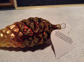 Large Brown Acorn Hand Blown Glass Ornament Holiday Tree Old German Christmas image 6