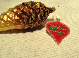 Large Brown Acorn Hand Blown Glass Ornament Holiday Tree Old German Christmas image 5