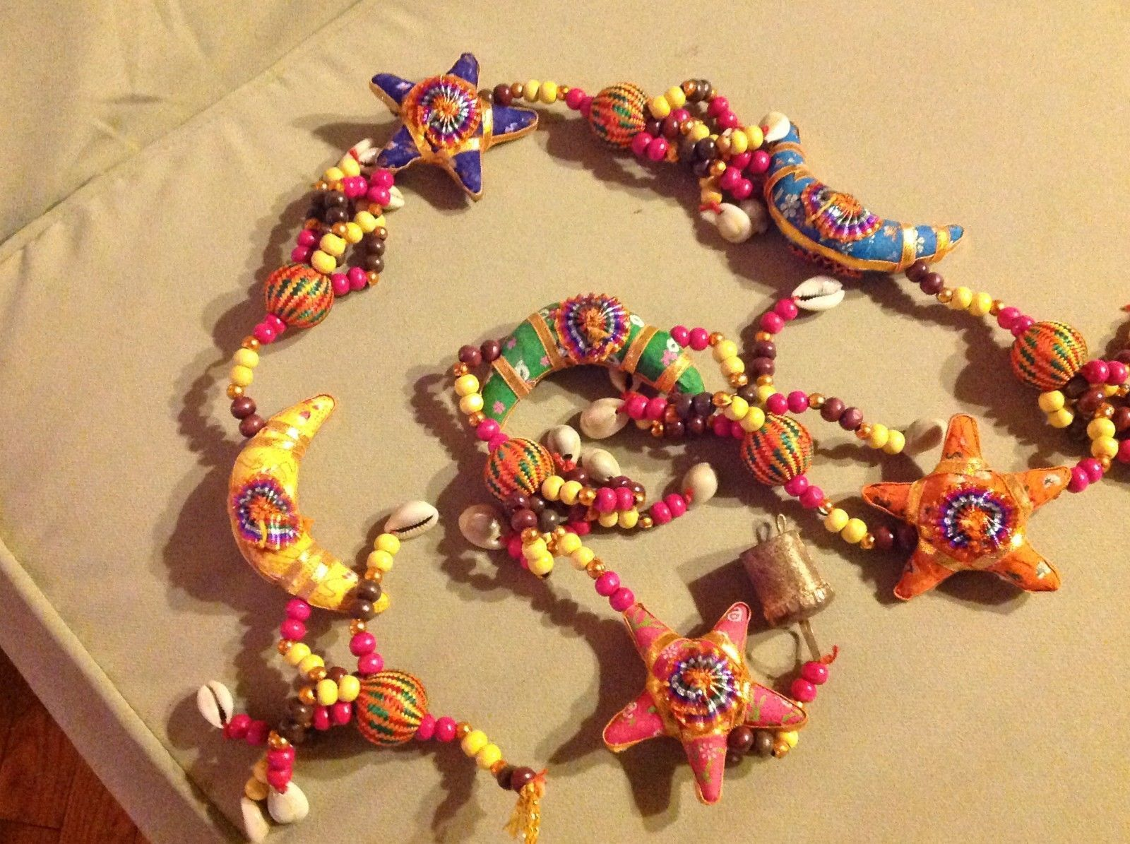 Large Festival Crescent Moon Stars Strand w Beads and Bell String Connector image 2