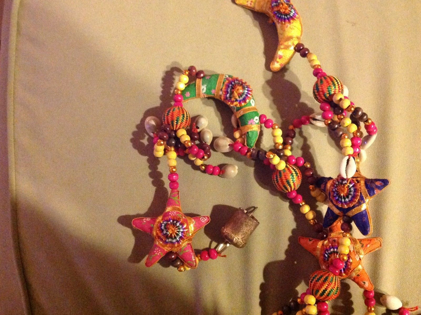 Large Festival Crescent Moon Stars Strand w Beads and Bell String Connector image 4
