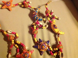 Large Festival Crescent Moon Stars Strand w Beads and Bell String Connector image 10