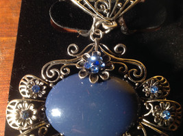 Large Blue Stone and Small Light Blue Crystals Petals Silver Tone Scarf Pendant image 2