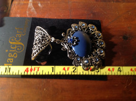 Large Blue Stone and Small Light Blue Crystals Petals Silver Tone Scarf Pendant image 4