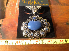 Large Blue Stone and Small Light Blue Crystals Petals Silver Tone Scarf Pendant image 5