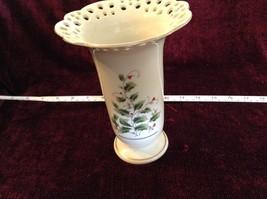 Large Japanese Made Vase with Berries Vines Interesting Design Gold Tone Rim image 2