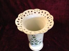 Large Japanese Made Vase with Berries Vines Interesting Design Gold Tone Rim image 3