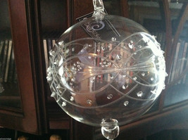 Large Glass Etched and embossed Ball Ornament w/ side flower hand made image 2
