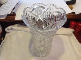Large Lead  Crystal vase vintage American Brilliant image 9