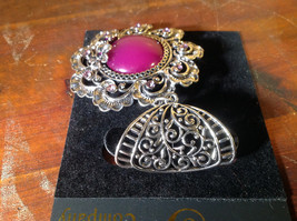 Large Purple Stone with Small Light Pink Crystals Silver Tone Scarf Pendant image 3