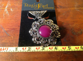 Large Purple Stone with Small Light Pink Crystals Silver Tone Scarf Pendant image 4