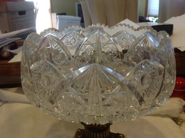Large Lead  Crystal brass & marble footed bowl vintage American Brilliant image 10