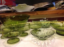 Large lot of Green glass serving bowls mixed sizes from estate image 2