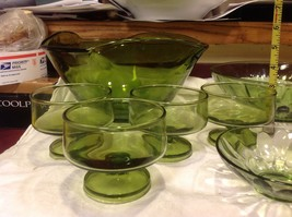 Large lot of Green glass serving bowls mixed sizes from estate image 3