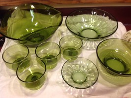 Large lot of Green glass serving bowls mixed sizes from estate image 7