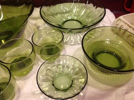Large lot of Green glass serving bowls mixed sizes from estate image 5