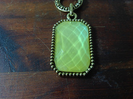 Large Yellow Stone Attached to Chain Gold Tone Vintage Style Scarf Pendant image 2