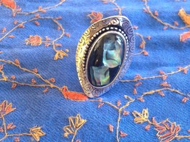 Large resin Abalone antique inspired silver cabuchon elegant ring one size image 2