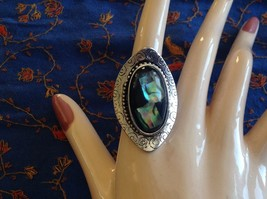 Large resin Abalone antique inspired silver cabuchon elegant ring one size image 5