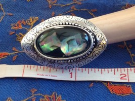 Large resin Abalone antique inspired silver cabuchon elegant ring one size image 9