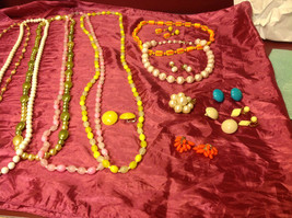 Large set of costume necklaces, earrings and a chain image 8