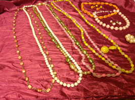 Large set of costume necklaces, earrings and a chain image 7