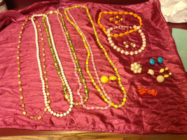 Large set of costume necklaces, earrings and a chain image 4
