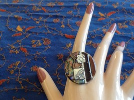 Large resin Abalone antique inspired silver cabuchon statement ring one size image 7