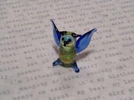 Miniature small hand blown glass light yellow horned owl blue wings made USA NIB image 5