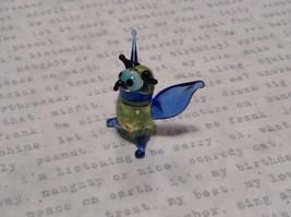 Miniature small hand blown glass light yellow horned owl blue wings made USA NIB image 4