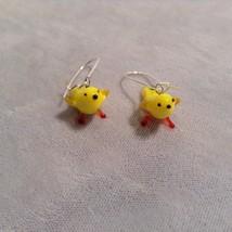 Miniature small hand blown glass made USA NIB yellow canary bird  earrings image 2