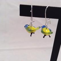 Miniature small hand blown glass made USA NIB yellow green blue bird earrings image 4