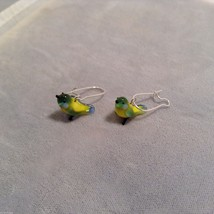 Miniature small hand blown glass made USA NIB yellow green blue bird earrings image 2