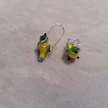 Miniature small hand blown glass made USA NIB yellow green blue bird earrings image 3